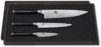 SHUN CLASSIC SETS, WITH FINE WOOD PACKAGING - 3-Knives set # DMS-310 (not pictured) Content: Office knife DM-0700, Utility knife DM-0701 and Santoku DM-0702